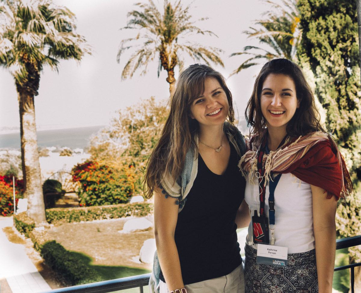 Katherine (right) and her sister Madeline (left) at the Mt. of Beatitudes.