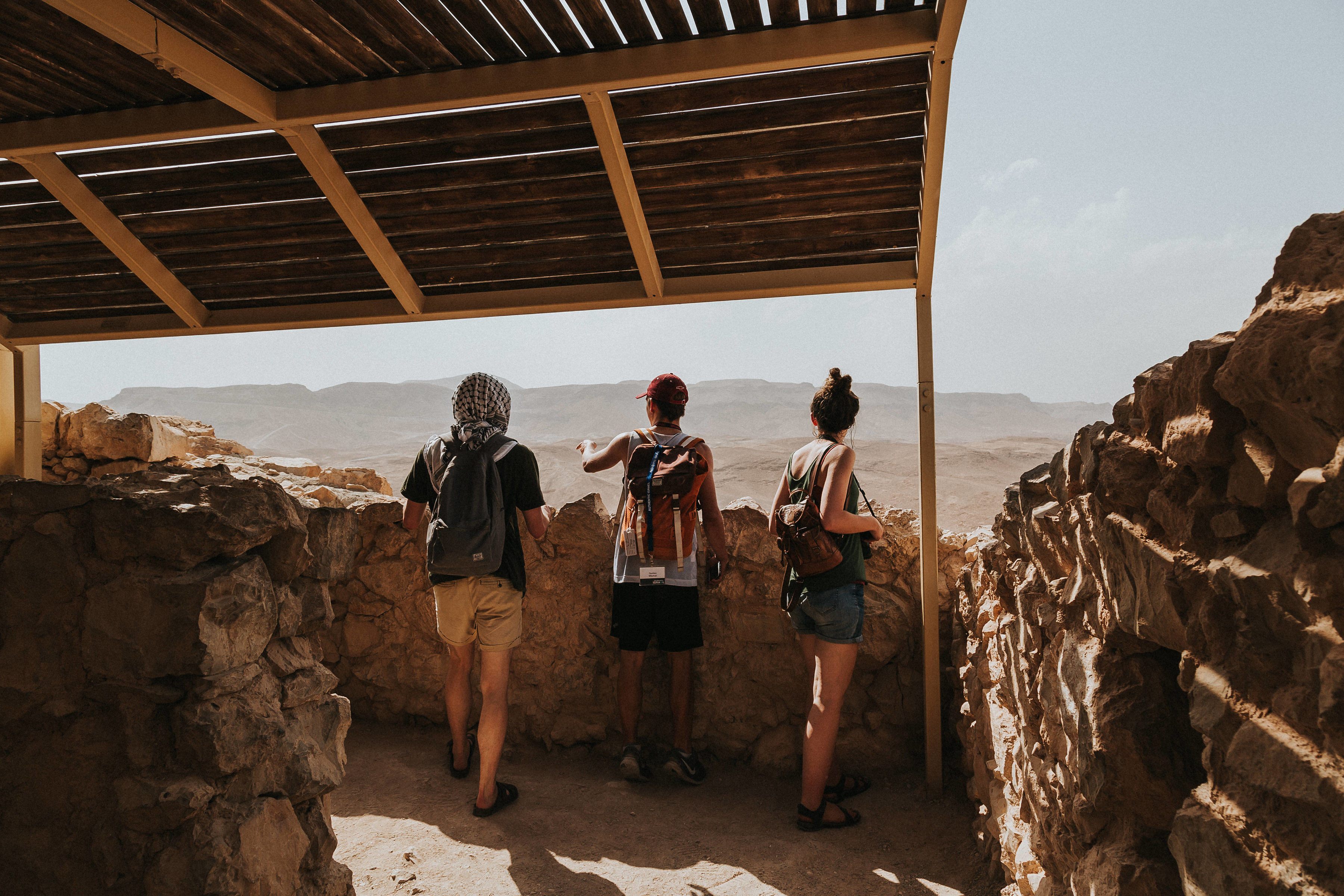 Looking out over the Judean desert atop Herod's Fortress of Masada, trying to picture the Roman camps below.