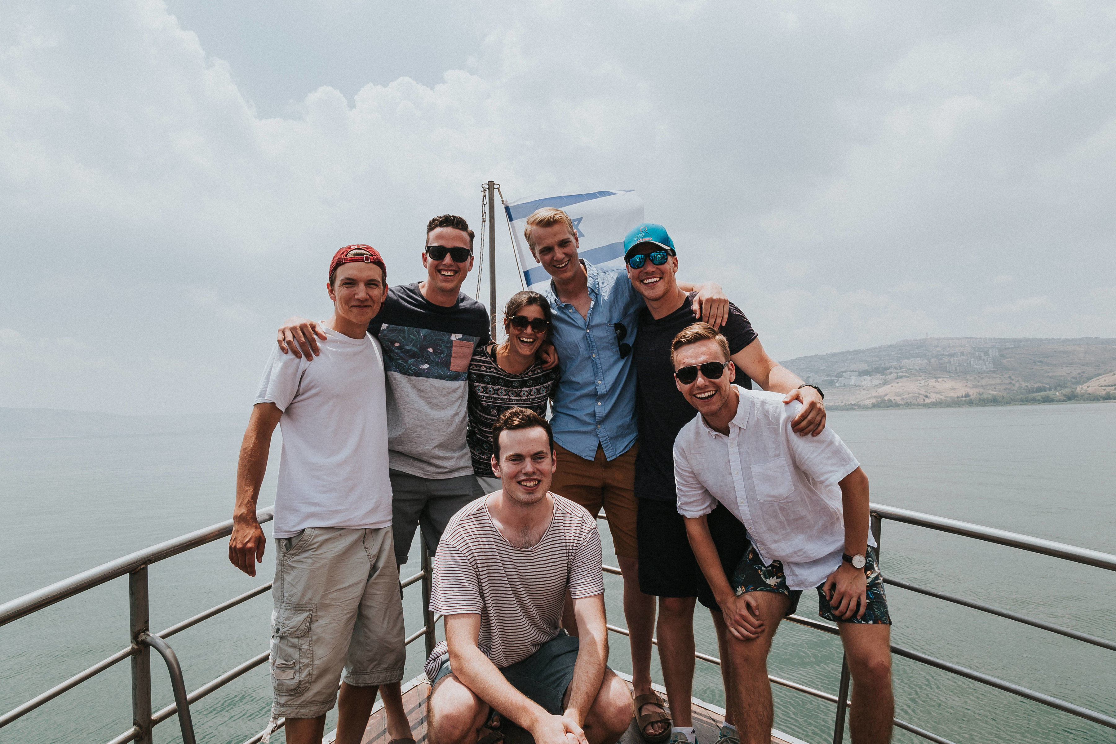"""Some of the boys and Arbel, our amazing guide. By the end of the trip we called her """"Ima"""", which in Hebrew means mom."""